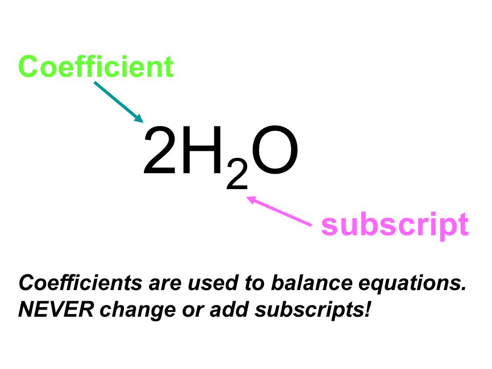 2H 2 O Coefficient subscript Coefficients are used to balance equations. NEVER change or add subscripts!