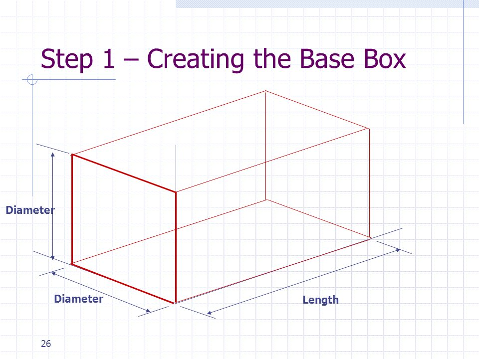 26 Step 1 – Creating the Base Box Diameter Length