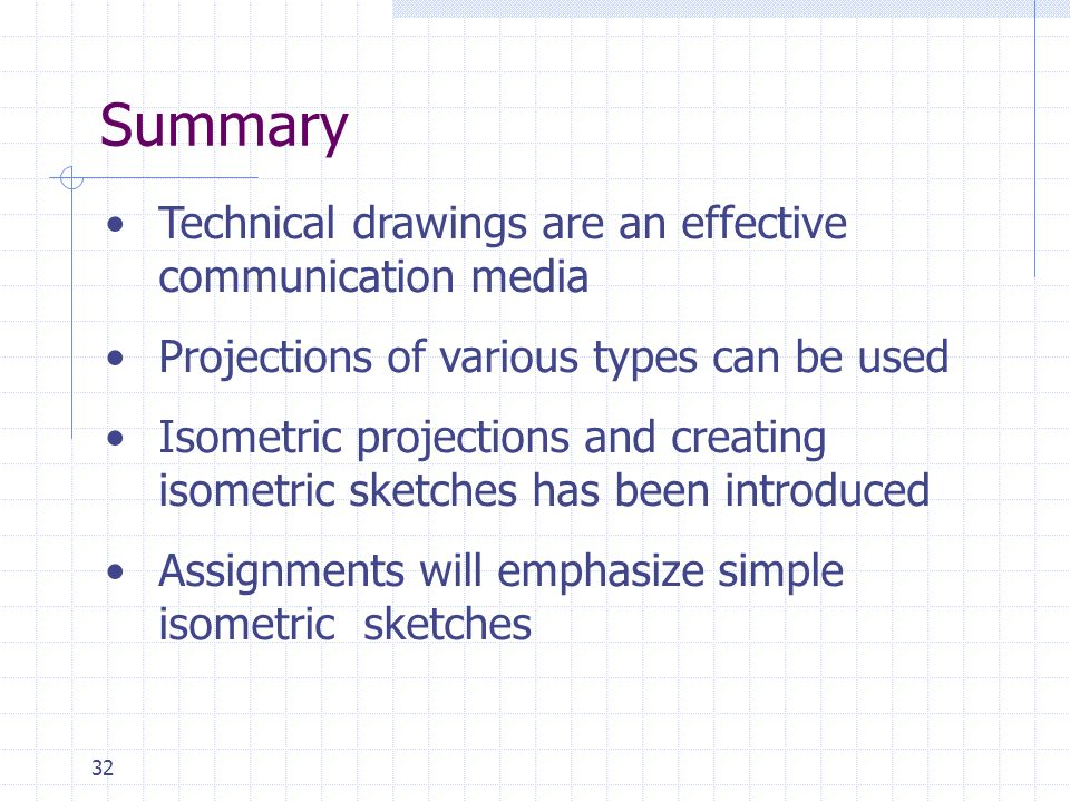 32 Summary Technical drawings are an effective communication media Projections of various types can be used Isometric projections and creating isometr
