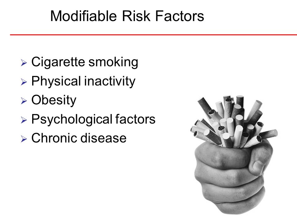 14 Modifiable Risk Factors Cigarette smoking Physical inactivity Obesity Psychological factors Chronic disease