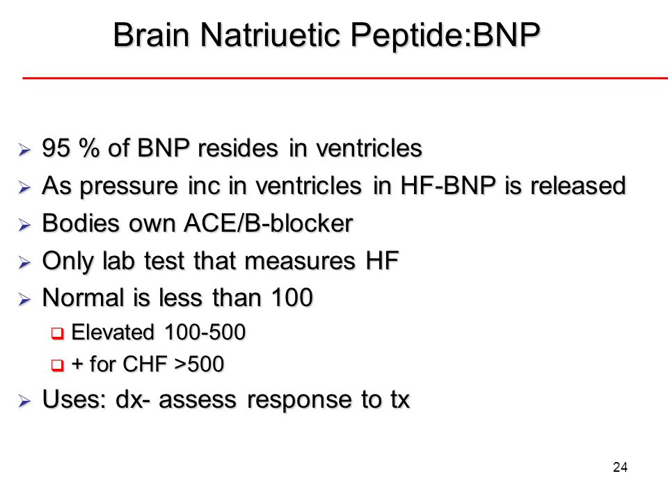 24 Brain Natriuetic Peptide:BNP 95 % of BNP resides in ventricles 95 % of BNP resides in ventricles As pressure inc in ventricles in HF-BNP is release