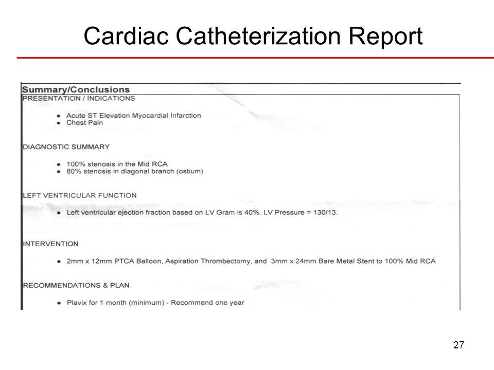 27 Cardiac Catheterization Report