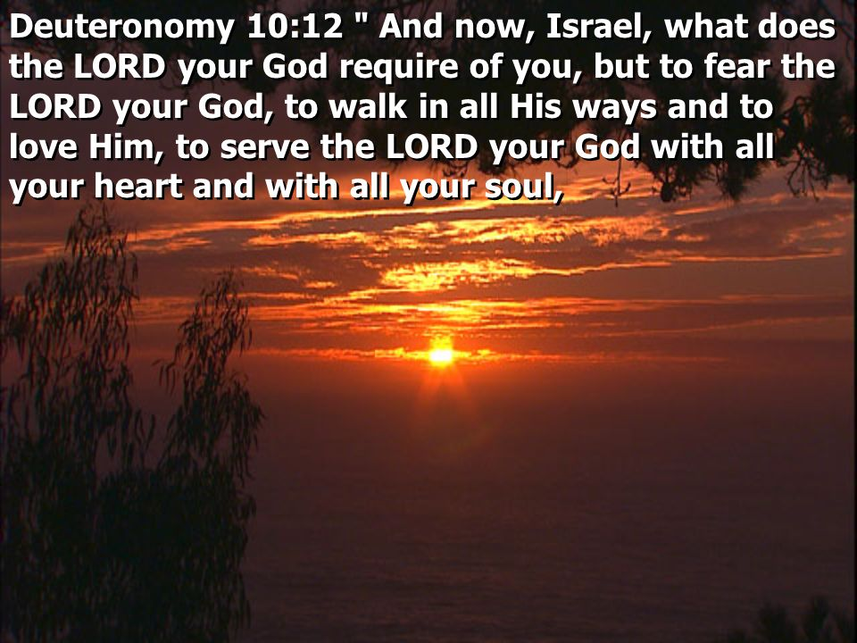 Deuteronomy 10:12 And now, Israel, what does the LORD your God require of you, but to fear the LORD your God, to walk in all His ways and to love Him, to serve the LORD your God with all your heart and with all your soul,