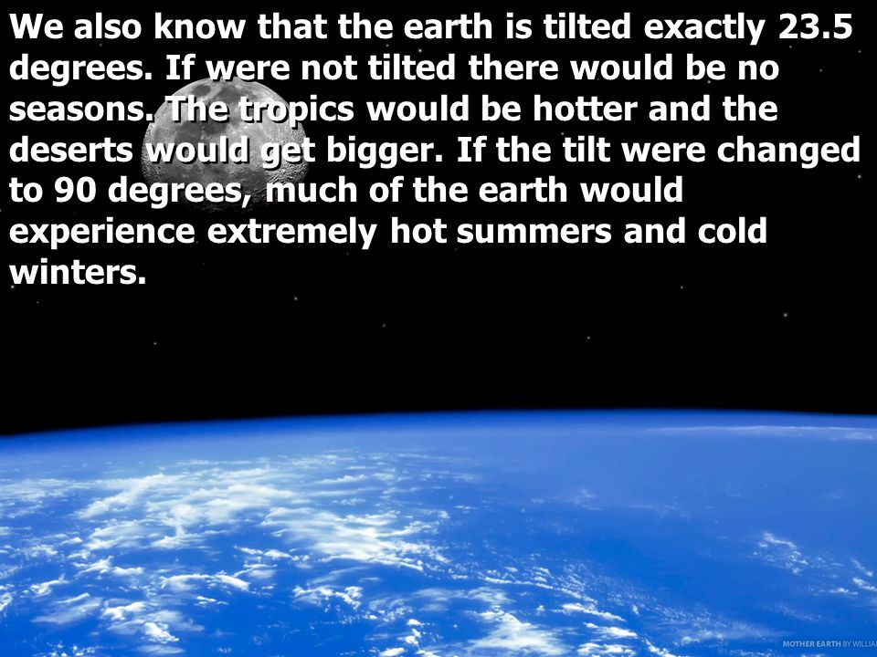 We also know that the earth is tilted exactly 23.5 degrees.