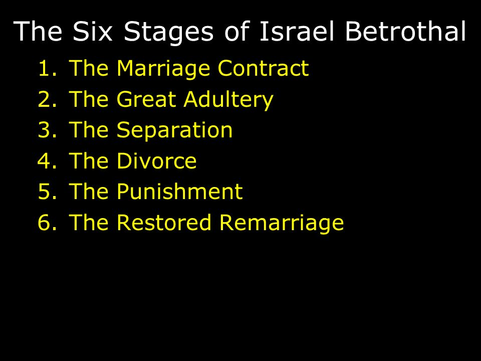 The Six Stages of Israel Betrothal 1.The Marriage Contract 2.The Great Adultery 3.The Separation 4.The Divorce 5.The Punishment 6.The Restored Remarriage