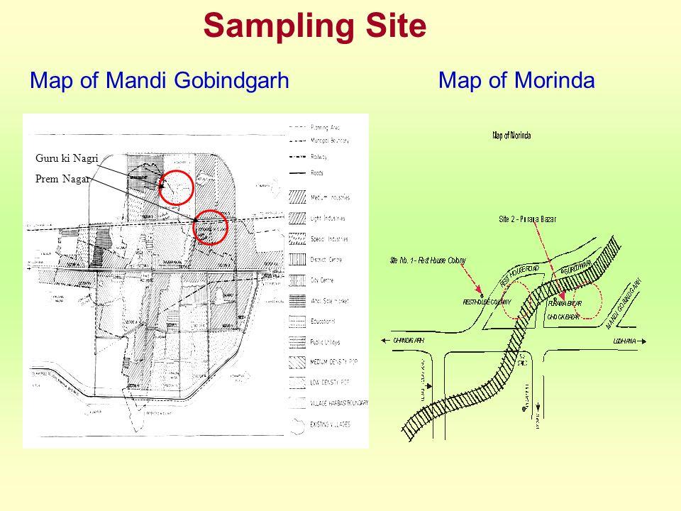 Map of Mandi Gobindgarh Map of Morinda Sampling Site Guru ki Nagri Prem Nagar