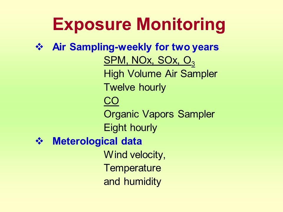 Exposure Monitoring Air Sampling-weekly for two years SPM, NOx, SOx, O 3 High Volume Air Sampler Twelve hourly CO Organic Vapors Sampler Eight hourly