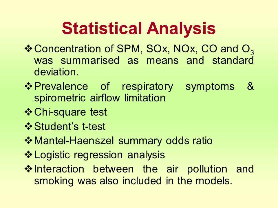 Statistical Analysis Concentration of SPM, SOx, NOx, CO and O 3 was summarised as means and standard deviation. Prevalence of respiratory symptoms & s