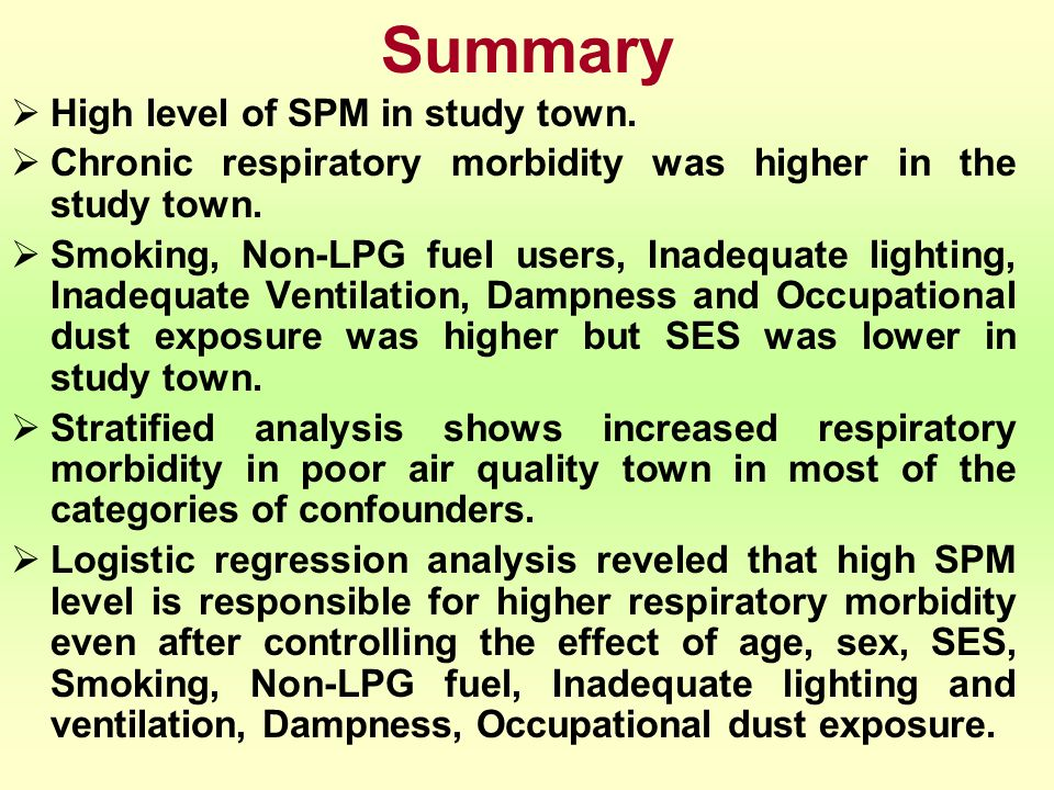 Summary High level of SPM in study town. Chronic respiratory morbidity was higher in the study town. Smoking, Non-LPG fuel users, Inadequate lighting,