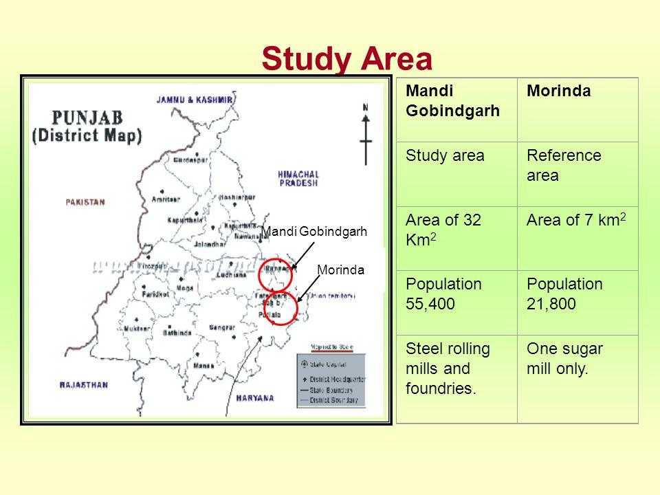 Study Area Mandi Gobindgarh Morinda Study areaReference area Area of 32 Km 2 Area of 7 km 2 Population 55,400 Population 21,800 Steel rolling mills an