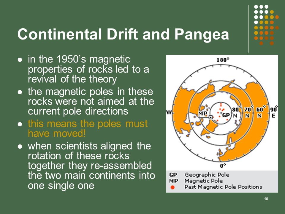 10 Continental Drift and Pangea in the 1950s magnetic properties of rocks led to a revival of the theory the magnetic poles in these rocks were not ai