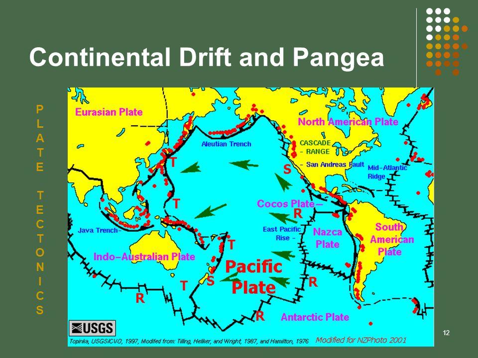 12 Continental Drift and Pangea PLATETECTONICSPLATETECTONICS