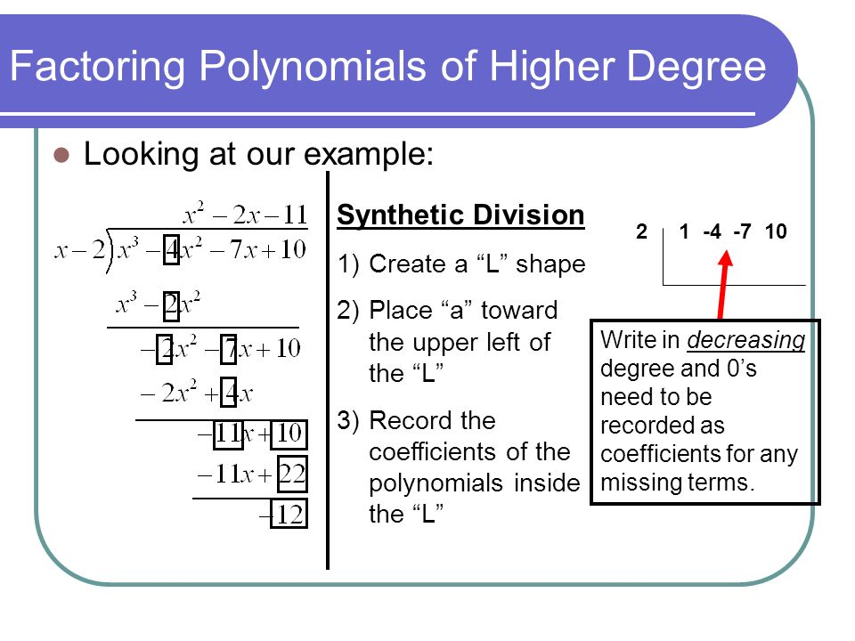Factoring Polynomials of Higher Degree Looking at our example: Synthetic Division 1)Create a L shape 2)Place a toward the upper left of the L 3)Record