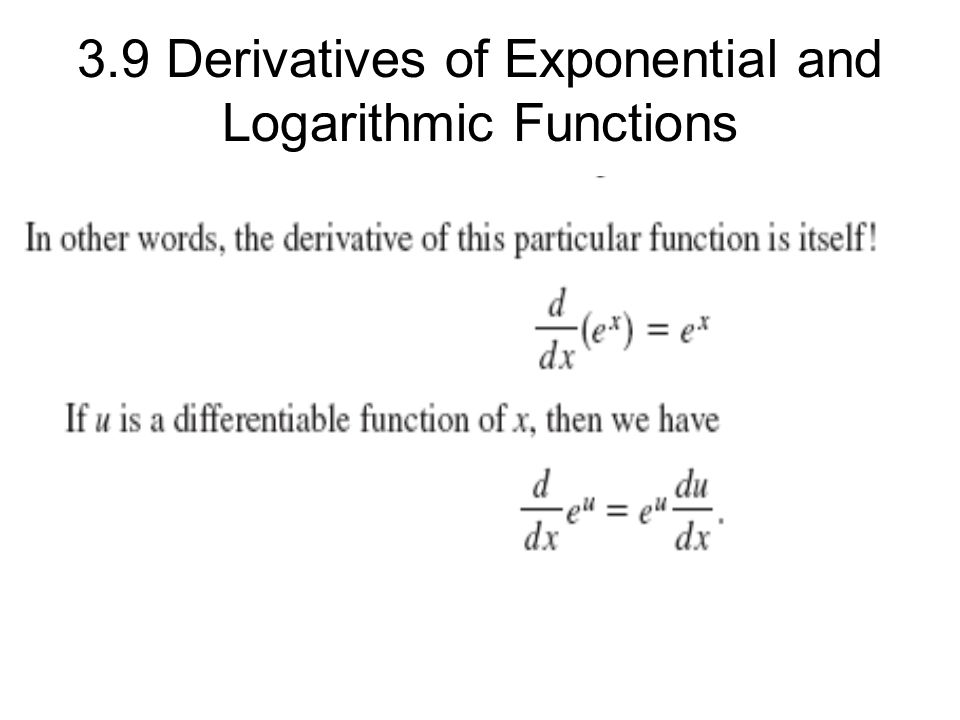 3.9 Derivatives of Exponential and Logarithmic Functions