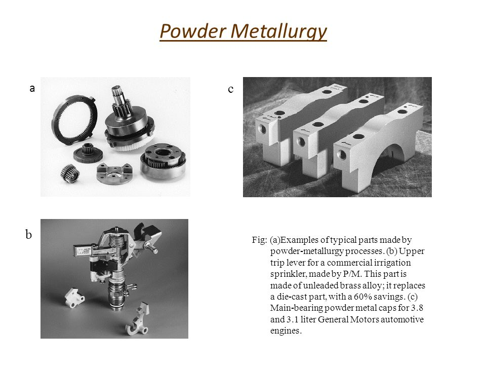 Powder Metallurgy a b c Fig: (a)Examples of typical parts made by powder-metallurgy processes. (b) Upper trip lever for a commercial irrigation sprink