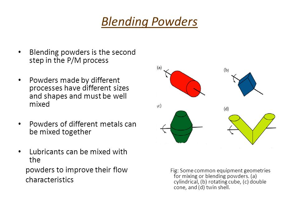 Blending Powders Blending powders is the second step in the P/M process Powders made by different processes have different sizes and shapes and must b