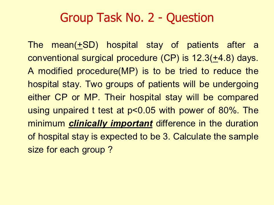 Group Task No. 2 - Question The mean(+SD) hospital stay of patients after a conventional surgical procedure (CP) is 12.3(+4.8) days. A modified proced