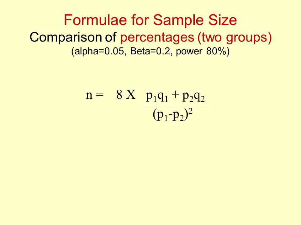 Formulae for Sample Size Comparison of percentages (two groups) (alpha=0.05, Beta=0.2, power 80%) n = 8 X p 1 q 1 + p 2 q 2 (p 1 -p 2 ) 2