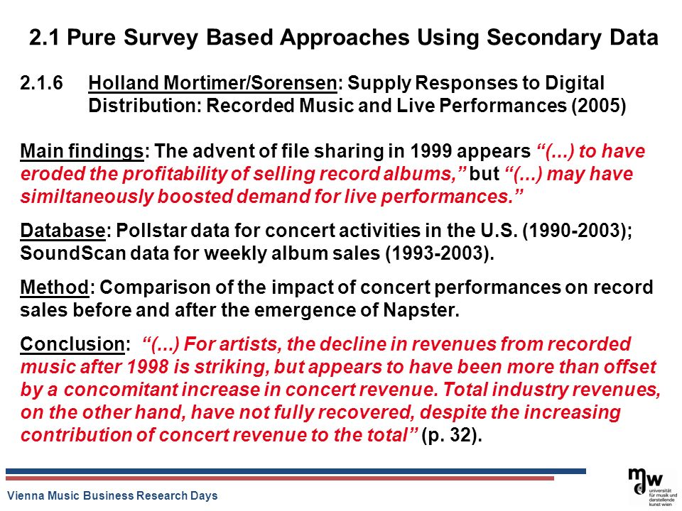 Vienna Music Business Research Days 2.1 Pure Survey Based Approaches Using Secondary Data 2.1.6 Holland Mortimer/Sorensen: Supply Responses to Digital