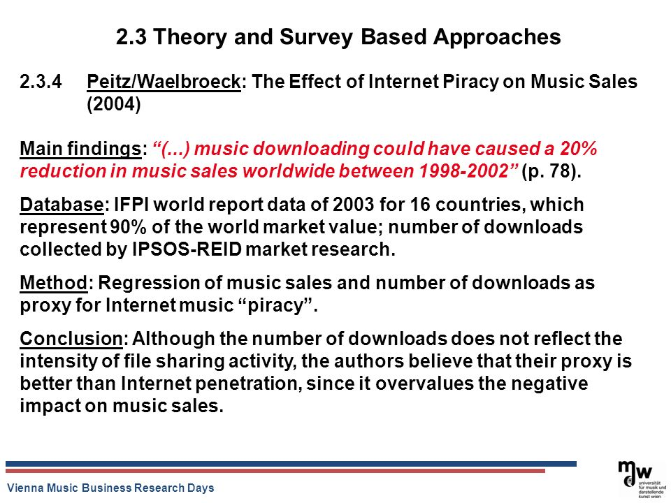 Vienna Music Business Research Days 2.3 Theory and Survey Based Approaches 2.3.4 Peitz/Waelbroeck: The Effect of Internet Piracy on Music Sales (2004)