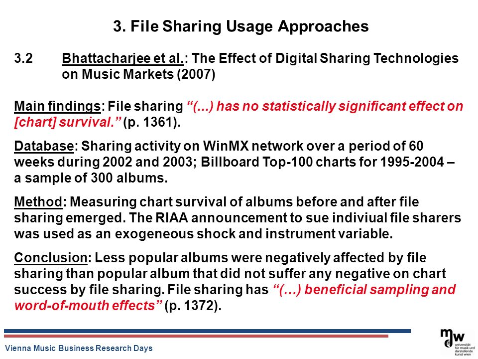 Vienna Music Business Research Days 3. File Sharing Usage Approaches 3.2 Bhattacharjee et al.: The Effect of Digital Sharing Technologies on Music Mar