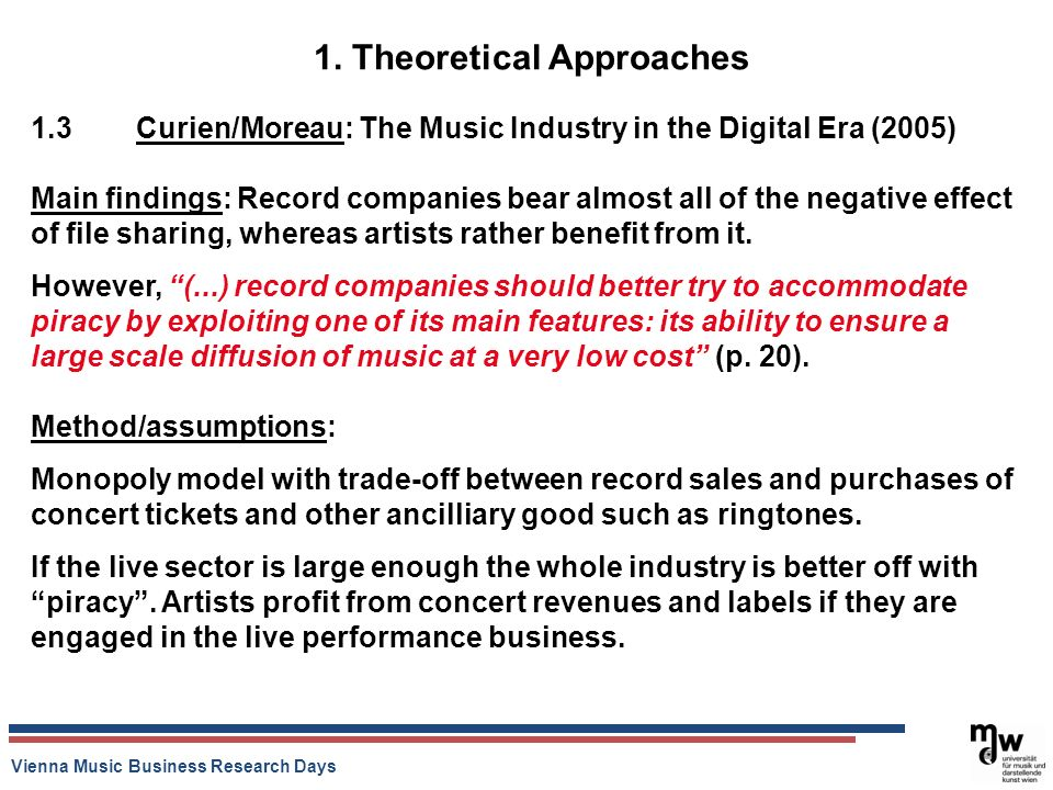 Vienna Music Business Research Days 1. Theoretical Approaches 1.3 Curien/Moreau: The Music Industry in the Digital Era (2005) Main findings: Record co