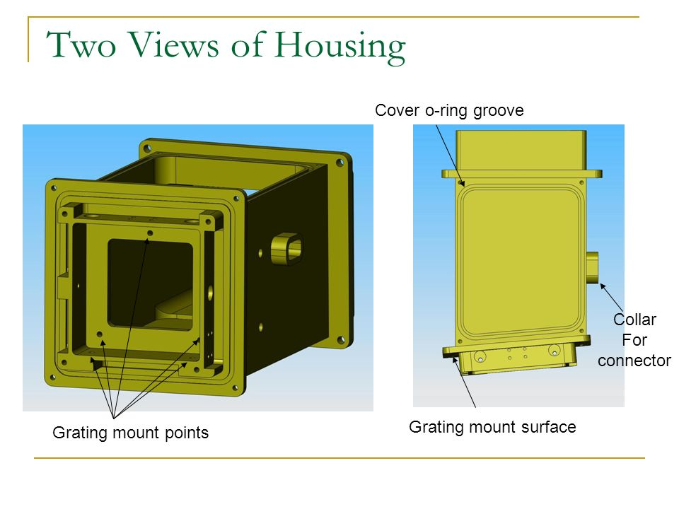 Two Views of Housing Collar For connector Grating mount points Grating mount surface Cover o-ring groove