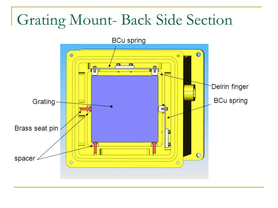Grating Mount- Back Side Section Grating Brass seat pin spacer BCu spring Delrin finger BCu spring
