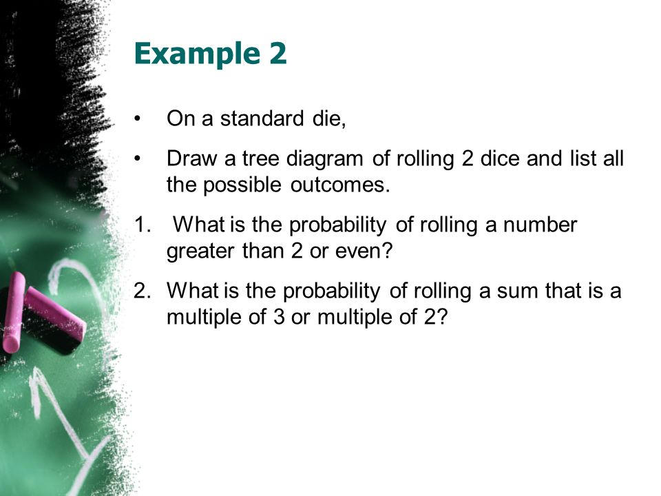 Example 2 On a standard die, Draw a tree diagram of rolling 2 dice and list all the possible outcomes. 1. What is the probability of rolling a number