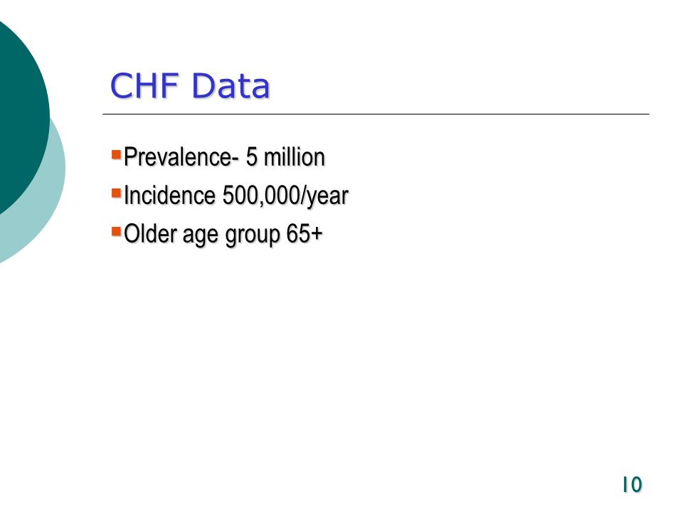 10 CHF Data Prevalence- 5 million Prevalence- 5 million Incidence 500,000/year Incidence 500,000/year Older age group 65+ Older age group 65+