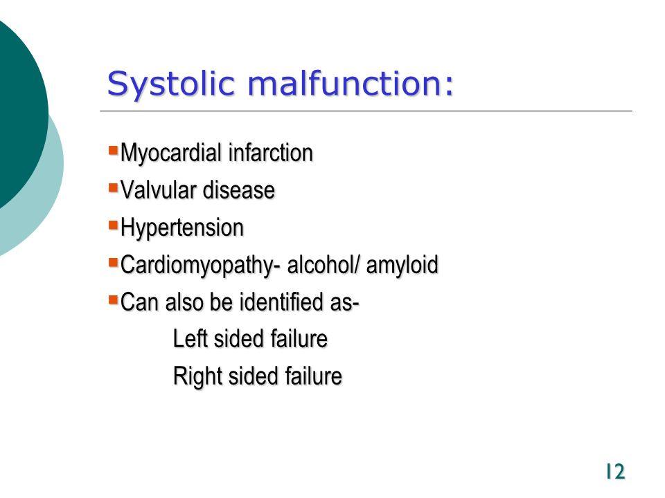 12 Systolic malfunction: Myocardial infarction Myocardial infarction Valvular disease Valvular disease Hypertension Hypertension Cardiomyopathy- alcoh
