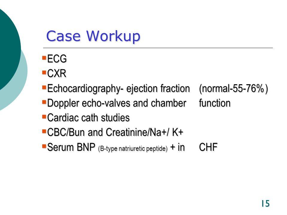 15 Case Workup ECG ECG CXR CXR Echocardiography- ejection fraction (normal-55-76%) Echocardiography- ejection fraction (normal-55-76%) Doppler echo-va