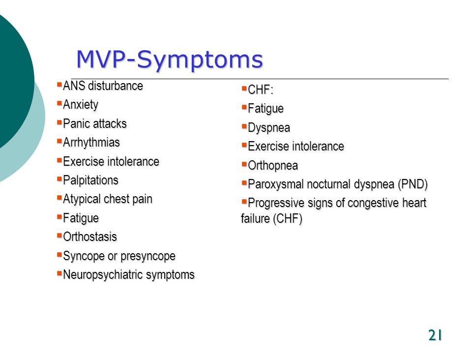 21 MVP-Symptoms ANS disturbance ANS disturbance Anxiety Anxiety Panic attacks Panic attacks Arrhythmias Arrhythmias Exercise intolerance Exercise into