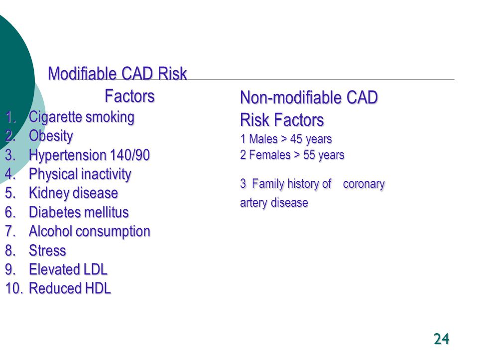 24 Modifiable CAD Risk Factors 1.Cigarette smoking 2.Obesity 3.Hypertension 140/90 4.Physical inactivity 5.Kidney disease 6.Diabetes mellitus 7.Alcoho
