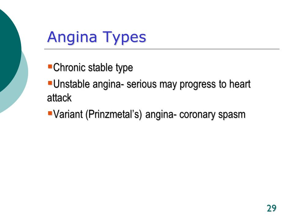 29 Angina Types Chronic stable type Chronic stable type Unstable angina- serious may progress to heart attack Unstable angina- serious may progress to
