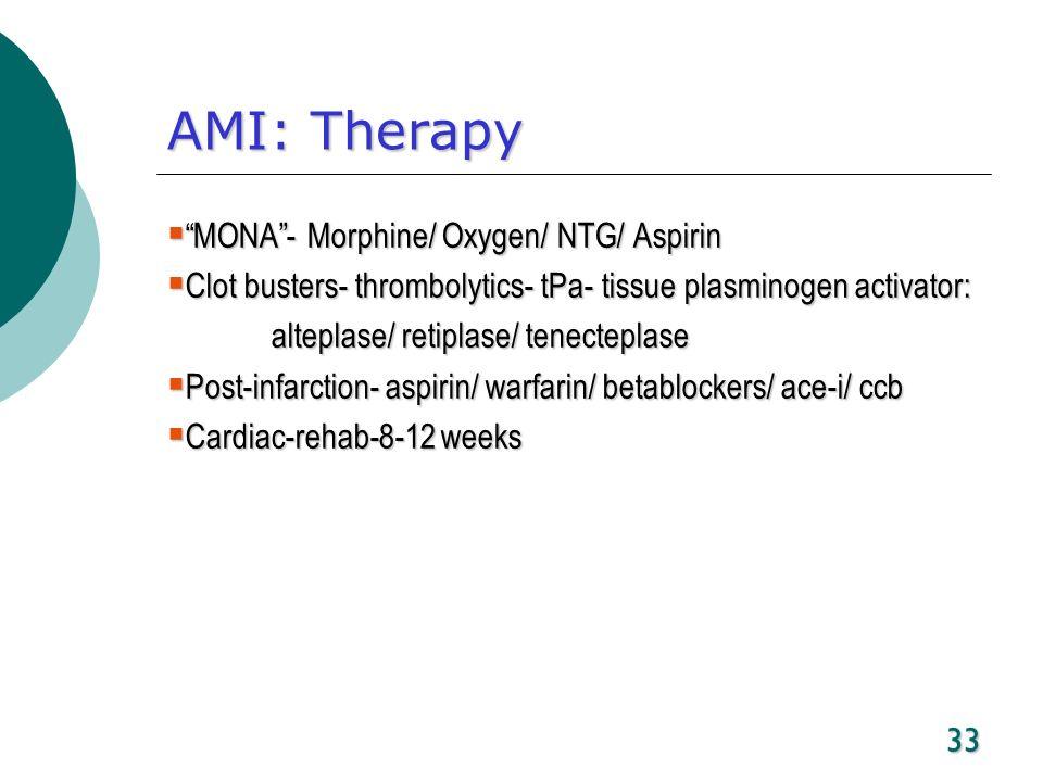 33 AMI: Therapy MONA- Morphine/ Oxygen/ NTG/ Aspirin MONA- Morphine/ Oxygen/ NTG/ Aspirin Clot busters- thrombolytics- tPa- tissue plasminogen activat