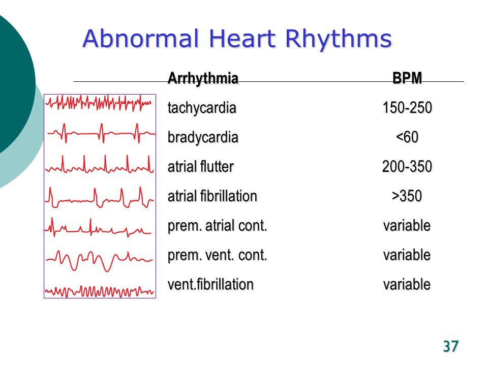 37 Abnormal Heart Rhythms ArrhythmiaBPM tachycardia150-250 bradycardia<60 atrial flutter 200-350 atrial fibrillation >350 prem. atrial cont. variable