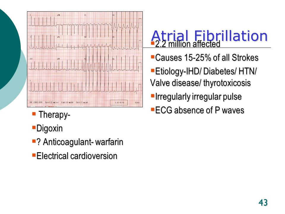 43 Atrial Fibrillation 2.2 million affected 2.2 million affected Causes 15-25% of all Strokes Causes 15-25% of all Strokes Etiology-IHD/ Diabetes/ HTN