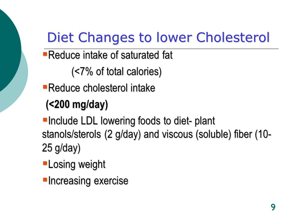 9 Diet Changes to lower Cholesterol Reduce intake of saturated fat Reduce intake of saturated fat (<7% of total calories) Reduce cholesterol intake Re