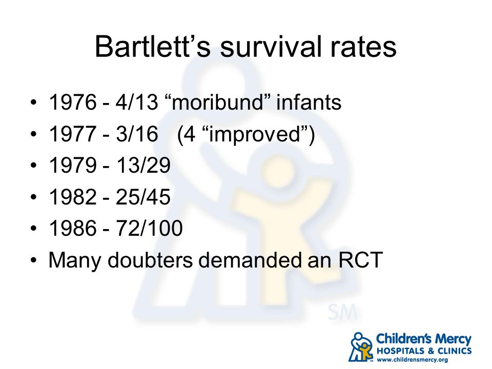 Bartletts survival rates 1976 - 4/13 moribund infants 1977 - 3/16 (4 improved) 1979 - 13/29 1982 - 25/45 1986 - 72/100 Many doubters demanded an RCT