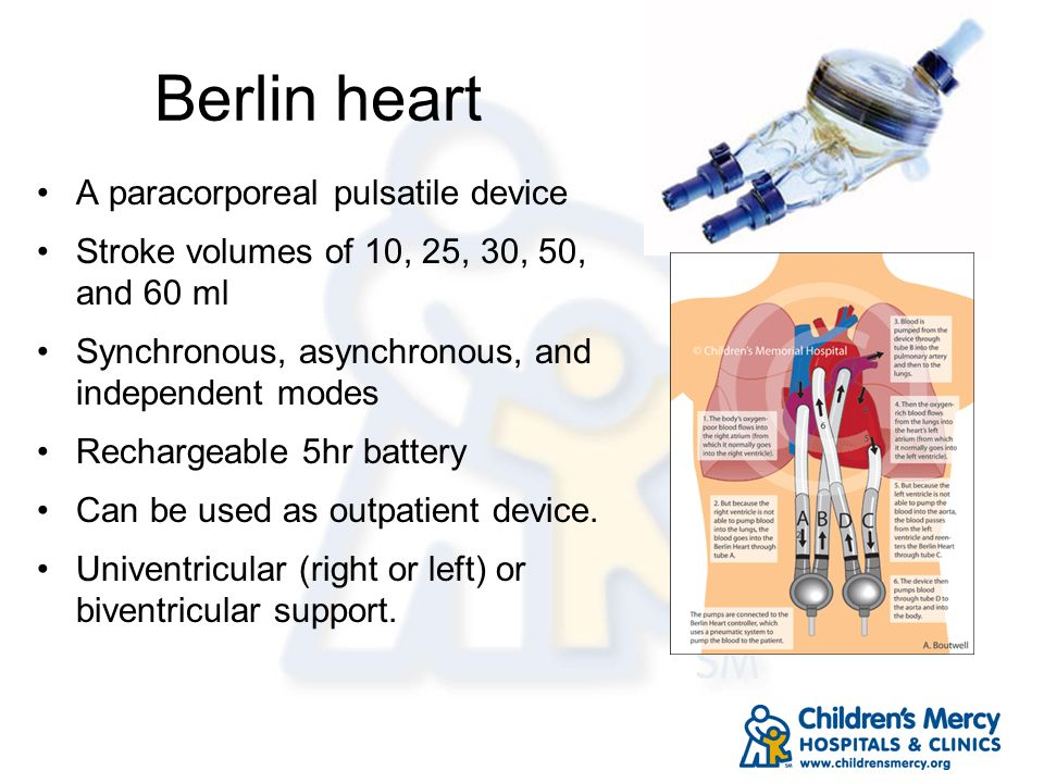 Berlin heart A paracorporeal pulsatile device Stroke volumes of 10, 25, 30, 50, and 60 ml Synchronous, asynchronous, and independent modes Rechargeabl