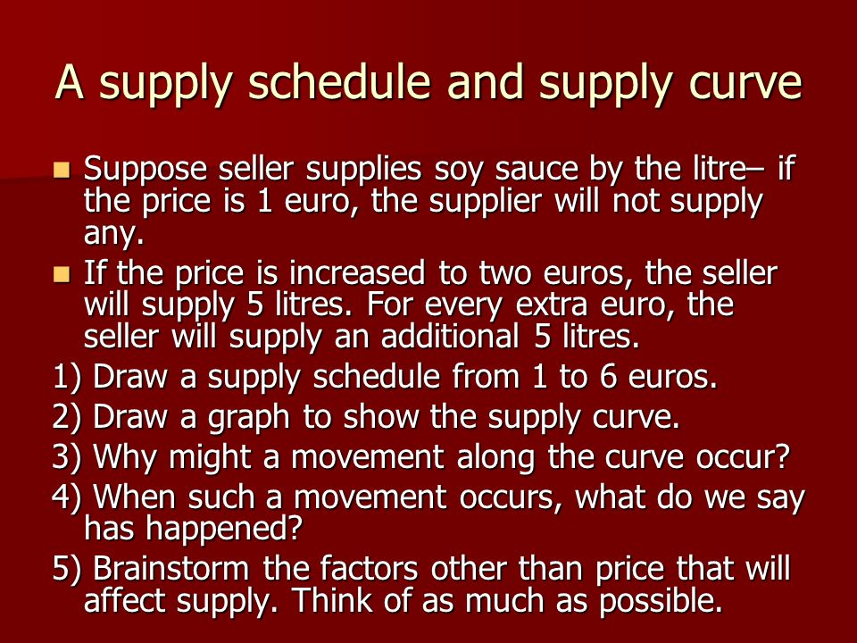 A supply schedule and supply curve Suppose seller supplies soy sauce by the litre– if the price is 1 euro, the supplier will not supply any.