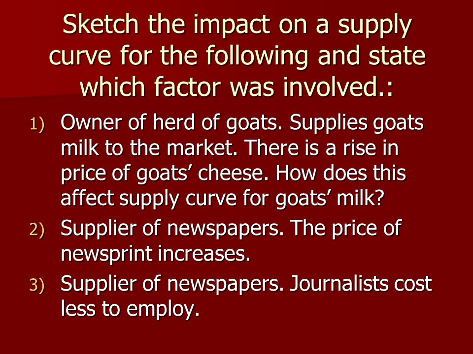 Sketch the impact on a supply curve for the following and state which factor was involved.: 1) Owner of herd of goats.