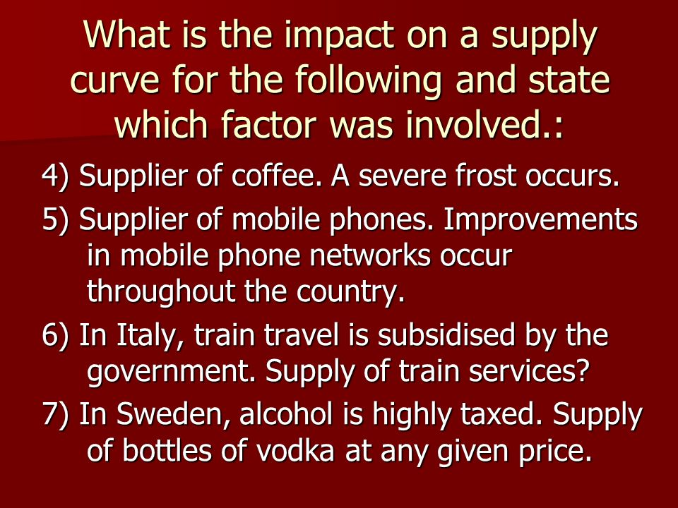 What is the impact on a supply curve for the following and state which factor was involved.: 4) Supplier of coffee.