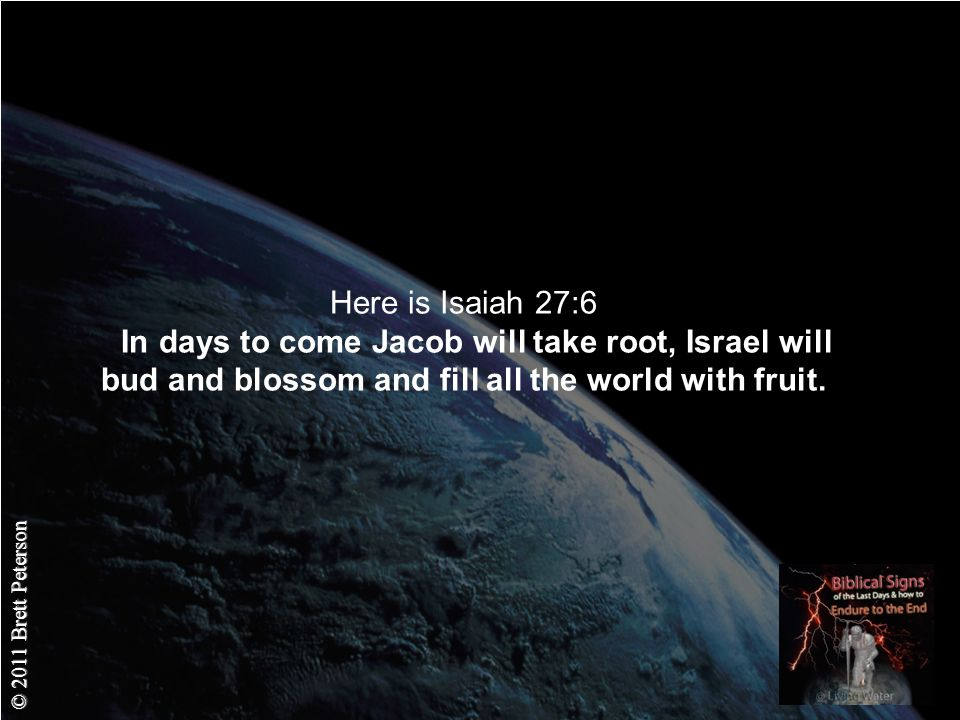 © 2011 Brett Peterson Here is Isaiah 27:6 In days to come Jacob will take root, Israel will bud and blossom and fill all the world with fruit.