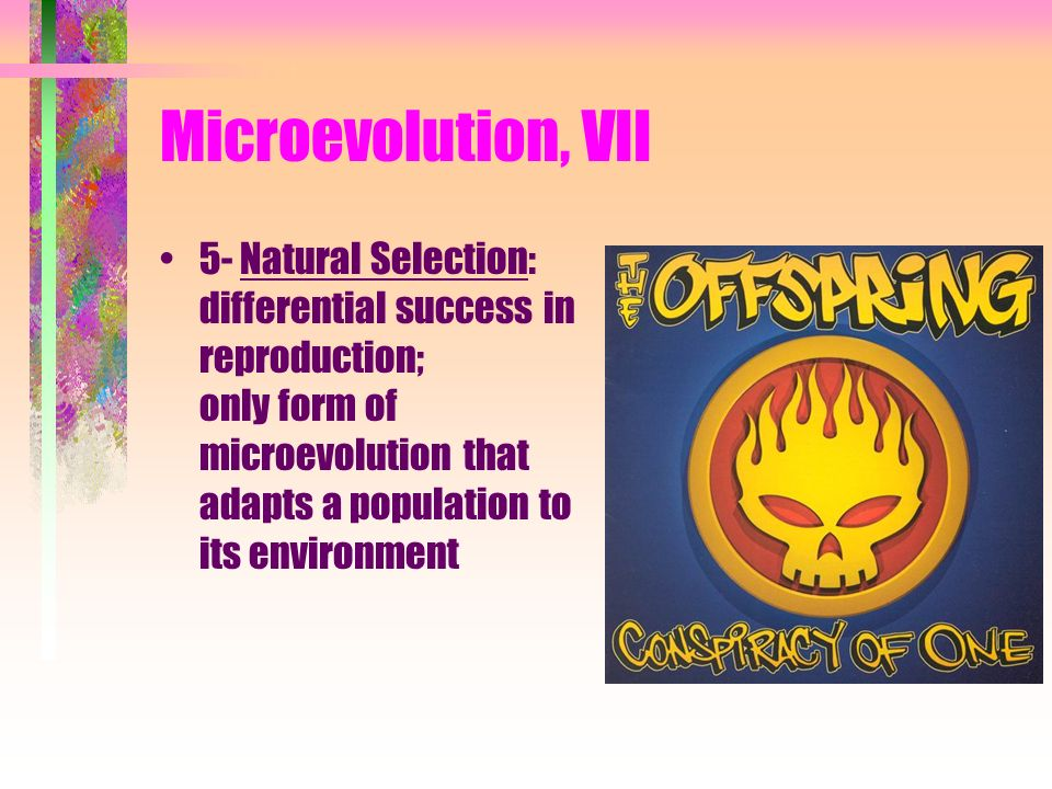 Microevolution, VII 5- Natural Selection: differential success in reproduction; only form of microevolution that adapts a population to its environmen