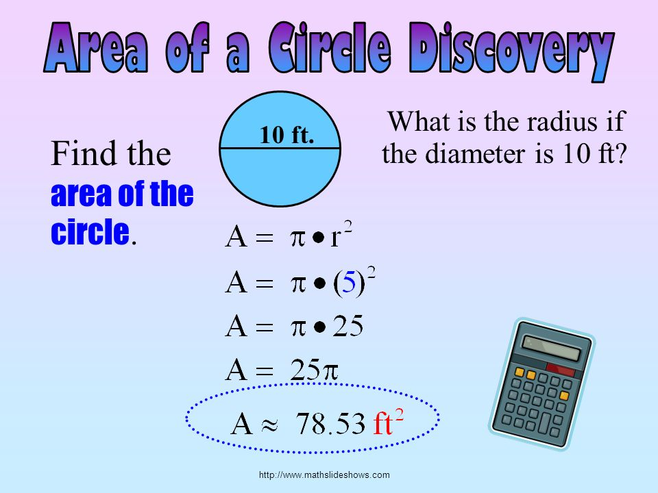 http://www.mathslideshows.com Find the area of the circle. 10 ft. What is the radius if the diameter is 10 ft?