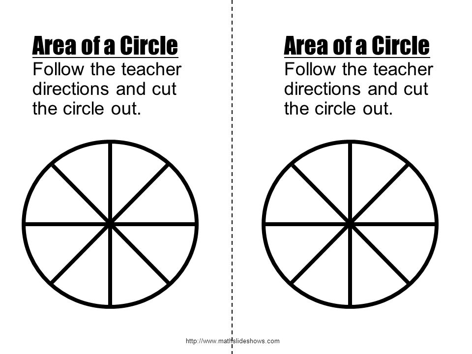 http://www.mathslideshows.com Area of a Circle Follow the teacher directions and cut the circle out. Area of a Circle Follow the teacher directions an