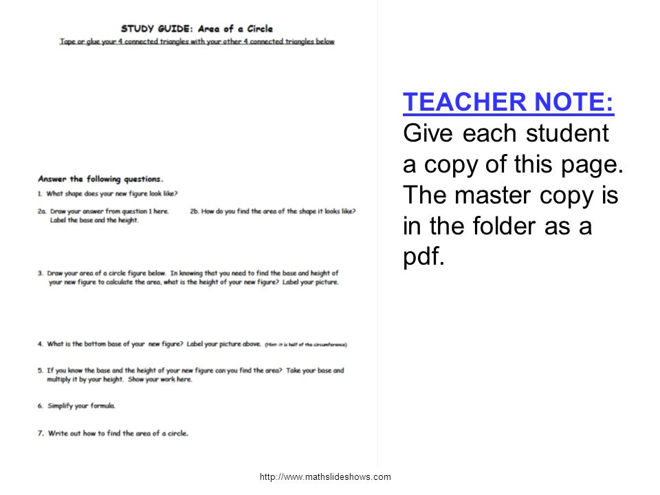 http://www.mathslideshows.com TEACHER NOTE: Give each student a copy of this page. The master copy is in the folder as a pdf.