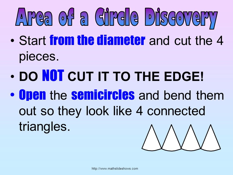 http://www.mathslideshows.com Start from the diameter and cut the 4 pieces. DO NOT CUT IT TO THE EDGE! Open the semicircles and bend them out so they